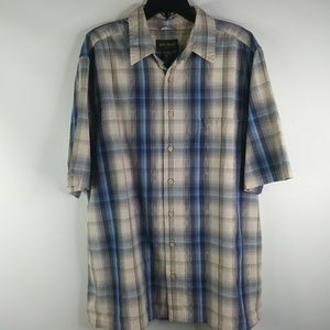 Eddie Bauer Men's sz XLT Yellow Blue Plaid Shirt
